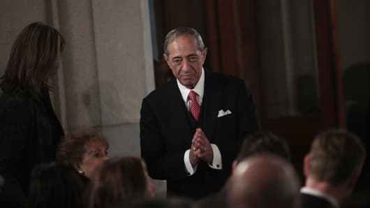 Former Governor Mario Cuomo at the inauguration of his son Andrew M. Cuomo as governor of New York on January 1, 2011 in Albany, New York.