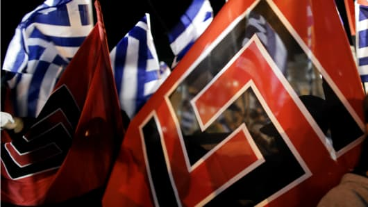 Golden Dawn flags at a rally in Athens