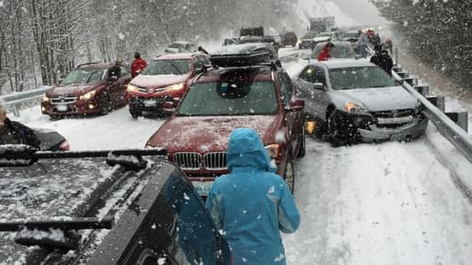 50 to 100 car chain reaction crash, 93 northbound, just past exit 22 in Ashland NH on Jan. 2, 2015.