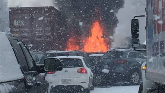 A massive car pileup in New Hampshire on Jan. 2, 2015.