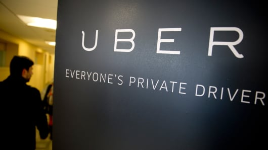 Uber signage inside the company's office.