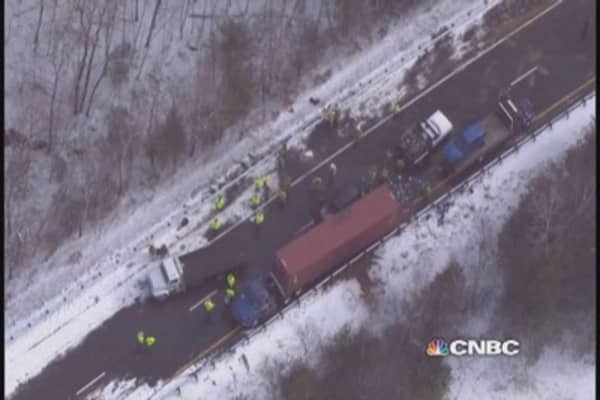 35-Car pileup reported on I-93 in New Hampshire