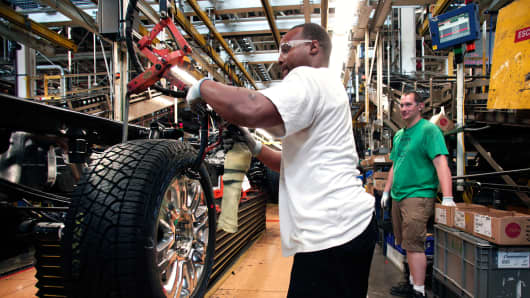 A Ford F-150 truck during assembly at the Ford Dearborn Plant in Dearborn, Michigan