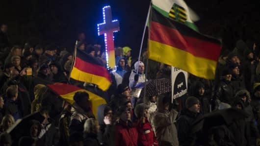 Pegida protesters in Dresden, January 5 2015