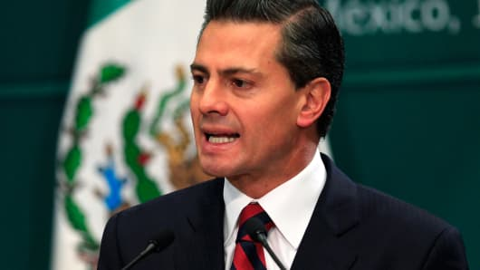 Mexico's President Enrique Pena Nieto speaks in Mexico City.