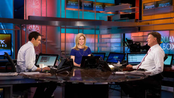 Andrew Ross Sorkin, Becky Quick and Joe Kernen on the set of Squawk Box in Englewood Cliffs, N.J.