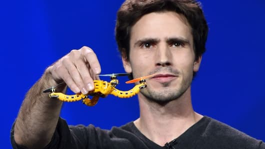 Developer Christoph Kohstall shows the Intel Nixie wearable drone camera.