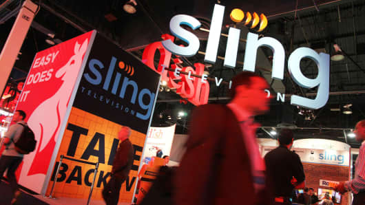 Signage for Dish's Sling television service at the CES in Las Vegas, January 7, 2015.