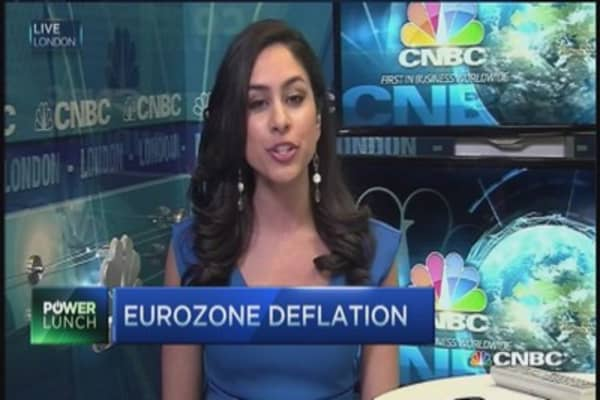 Euro zone inflation turns negative