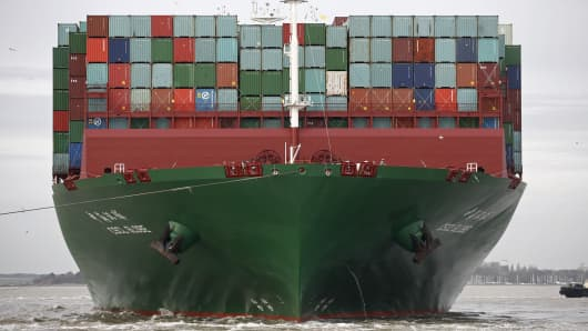 Freight containers sit on the deck of the CSCL Globe