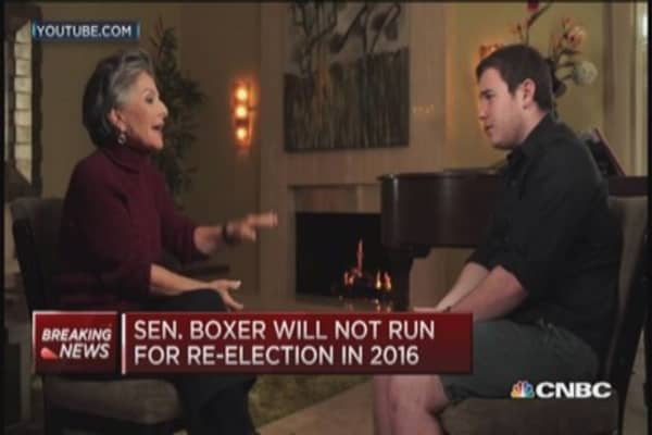 Sen. Boxer not running in 2016