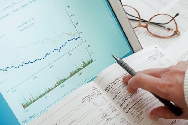 Woman looking at financial data