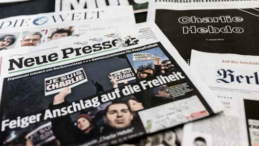 The covers of German newspapers 'Berliner Zeitung,' 'Bild,' 'Neue Presse' 'Die Welt' and 'Frankfurter Rundschau,' headlining the terrorist attacks yesterday in Paris.