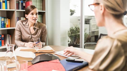 Office discussion negotiation women