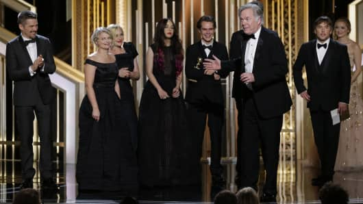 "Jonathan Sehring, ""Boyhood"", Acceptor, Best Motion Picture, Drama at the 72nd Annual Golden Globe Awards"