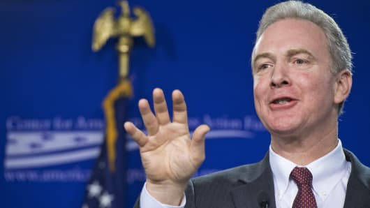 Rep. Chris Van Hollen, D-Md., speaks at the Center For American Progress about middle-class wages, Jan. 12, 2015.