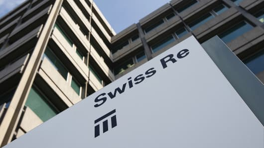 The Swiss Re building in Zurich is shown in this Feb. 19, 2009 photo.