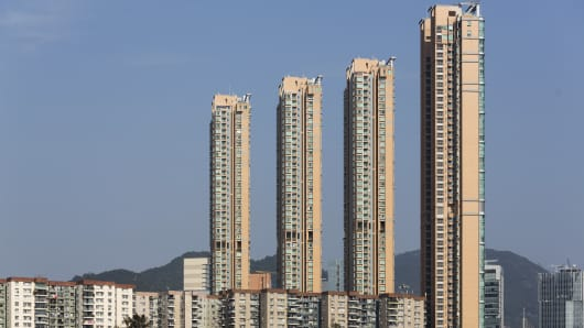 Residential buildings in the Lai Chi Kok district of Hong Kong.