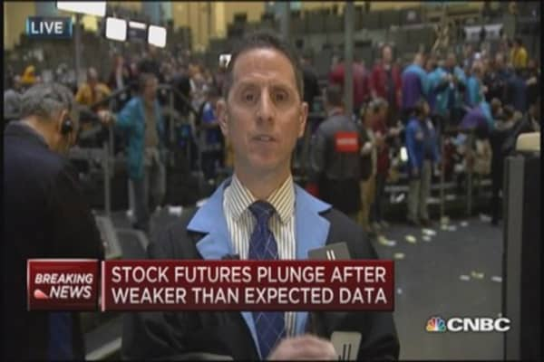 Stock futures plunge after weak data