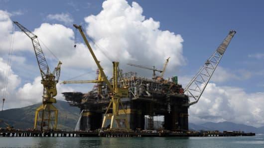 A Petrobas platform at the Brasfels shipyard in Angra dos Reis, about 115 miles west of Rio de Janeiro.