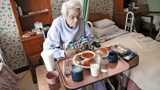 Elderly woman in nursing home