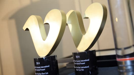 Vimeo Awards are displayed at the TIFF Awards Brunch during the 2014 Toronto International Film Festival, Sept. 14, 2014.