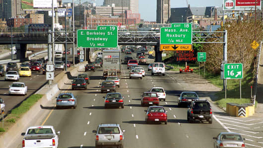 A file photo of Interstate 93 in Boston