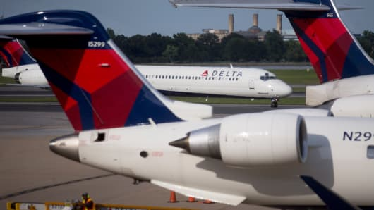 Delta Air Lines airplanes at Ronald Reagan National Airport in Washington last July.