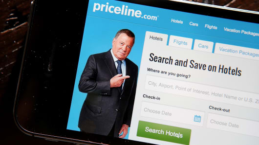 Priceline.com app on a mobile device.
