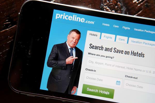 Priceline.com app on a mobile device.