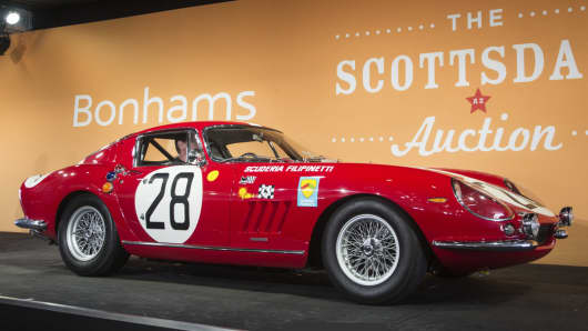 This 1966 Ferrari 275 GTB Competizione Coupe was sold by Bonhams for $9.4 million.