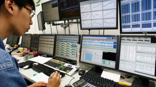 A trader at FXCM in Japan.