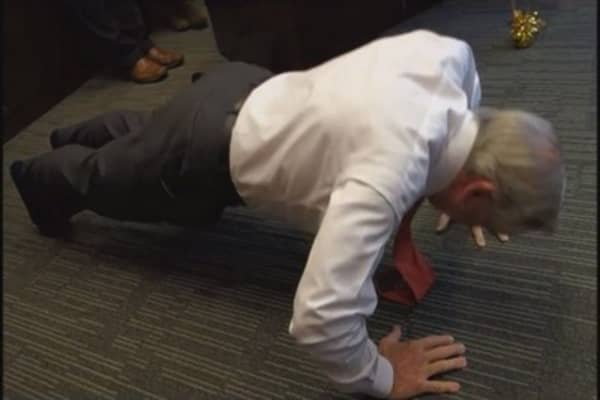 Billionaire does 75 pushups on 75th birthday