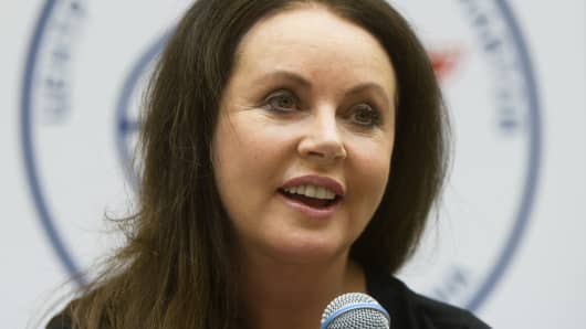British singer Sarah Brightman during a press conference at the Gagarin Cosmonauts' Training Centre in Star City, outside Moscow on January 19, 2015.