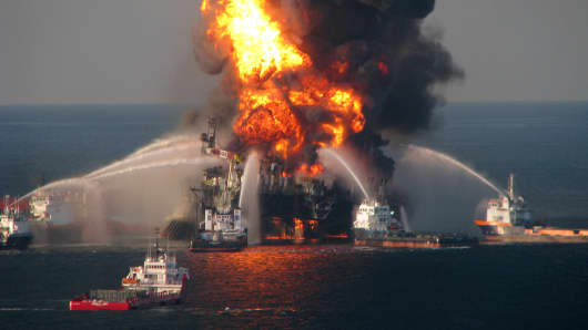 Fire boat response crews battle the blaze of the off shore oil rig Deepwater Horizon, in the Gulf of Mexico, April 21, 2010.