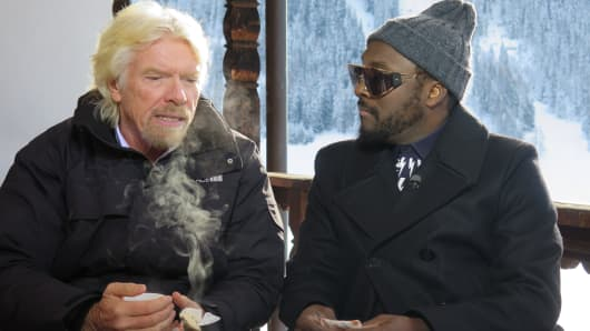 Sir Richard Branson and Will.I.Am at 2015 WEF in Davos, Switzerland.