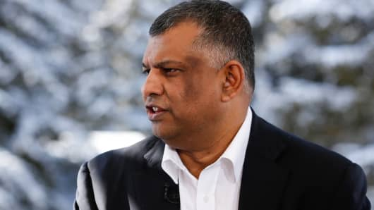 Tony Fernandes, CEO of AirAsia at 2015 WEF in Davos, Switzerland.