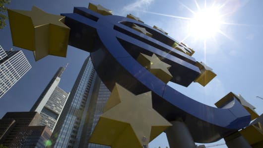 A euro sign sculpture is seen in front of the headquarters of the European Central Bank (ECB) in Frankfurt, Germany.