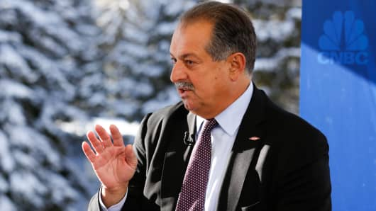 Andrew Liveris, CEO of Dow Chemical at 2015 WEF in Davos, Switzerland.