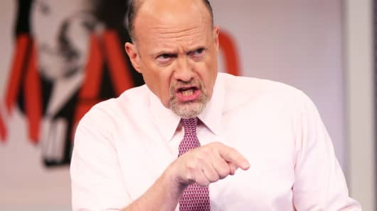 Jim Cramer on the set of Mad Money