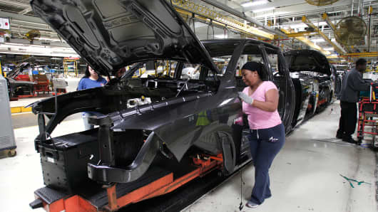A Chrysler Ram 1500 truck goes through the assembly line at the Warren Truck Assembly Plant in Warren, Michigan.