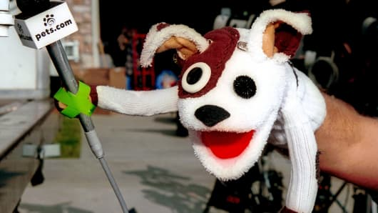 The Pets.com sock puppet dog stars in a commercial for the company, Jan. 11, 2000, in Los Angeles.