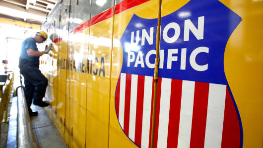 A worker in a Union Pacific locomotive maintenance facility, in Roseville, California.