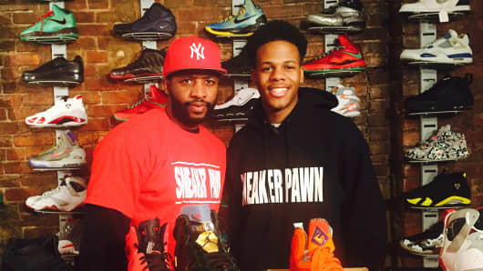 Troy Reed and his son, Chase Reed, are Harlem-based entrepreneurs who buy, sell and trade Air Jordans and other brands at their Sneaker Pawn USA store.