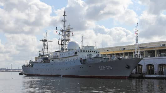 The Russian ship Vishnya (also known as Meridian) class warship CCB-175 Viktor Leonov, docked, on February 26, 2014, at Havana harbor.