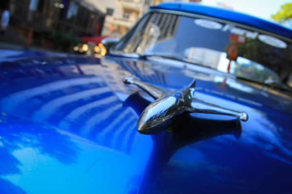 A closeup of a hood ornament on one of the classic American cars in Havana, Cuba.