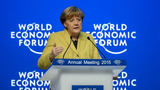 German Chancellor Angela Merkel attends a session of the World Economic Forum (WEF) annual meeting on January 22, 2015 in Davos.