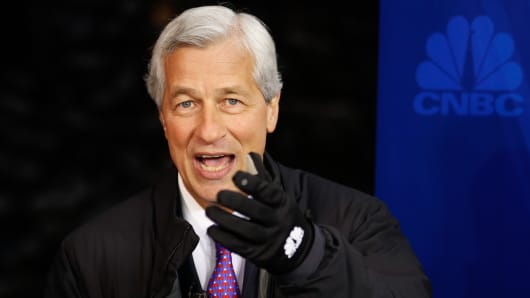 Jamie Dimon, chief executive officer of JPMorgan Chase, at the 2015 WEF in Davos, Switzerland.
