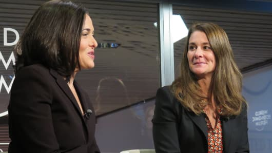 Sheryl Sandberg and Melinda Gates at 2015 WEF in Davos, Switzerland.