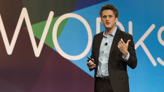 Aaron Levie, CEO of Box, speaks during the BoxWorks 'How Tomorrow Works' event in San Francisco, California.